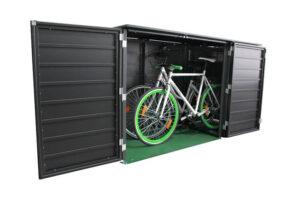 Komplett geöffnete Fahrradbox